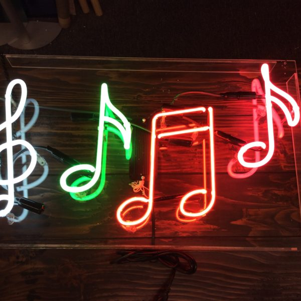 Neon Musical Notes