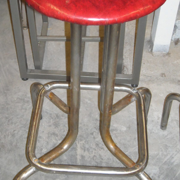 bar stool red vinyl and chrome 3