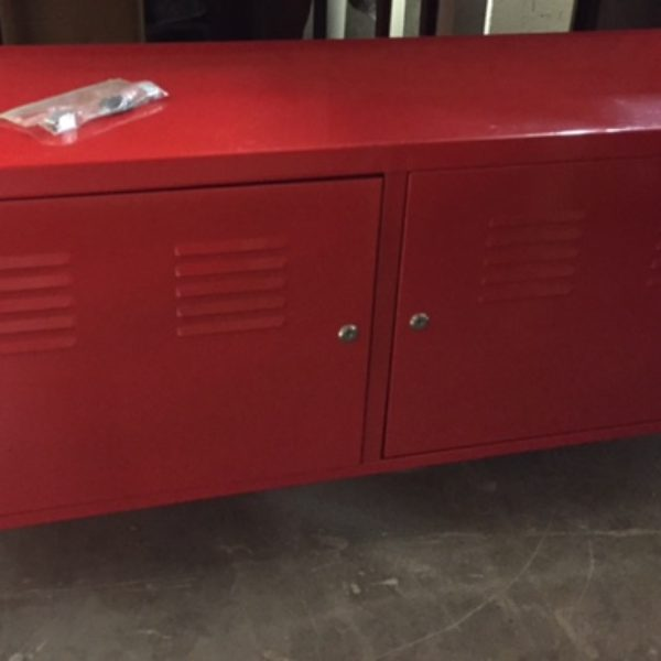 console table red locker style