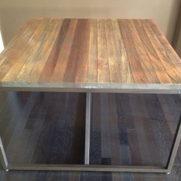 dining table industrial square wood and metal