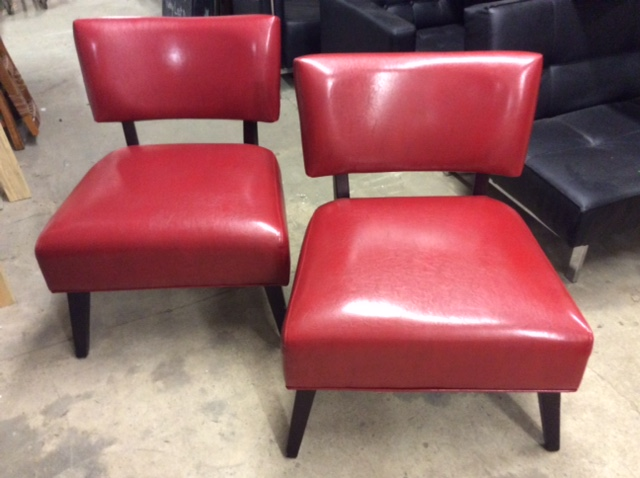 Pair XL Red Leather Side Chairs
