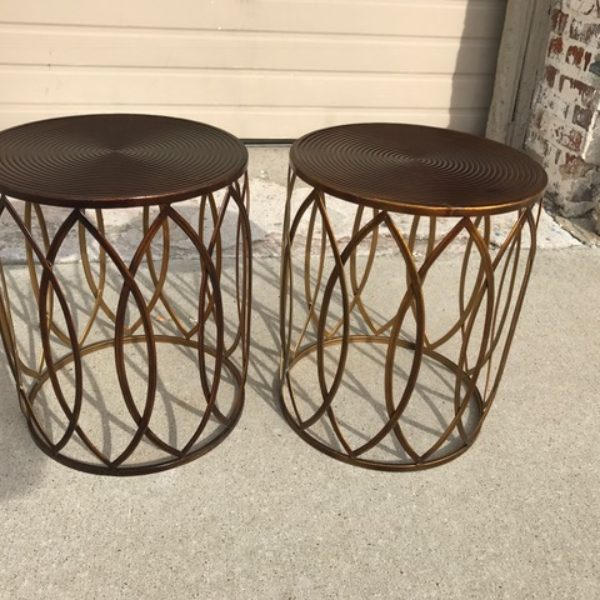 pair brass look side tables