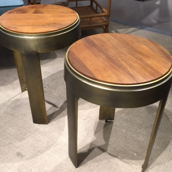 pair wood and brass side tables